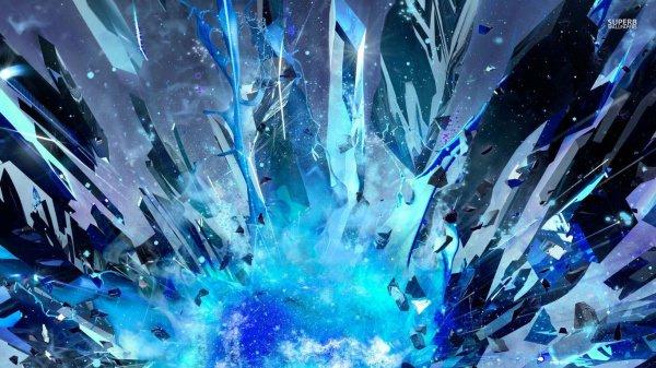 Blue Crystal Explosion Wallpaper