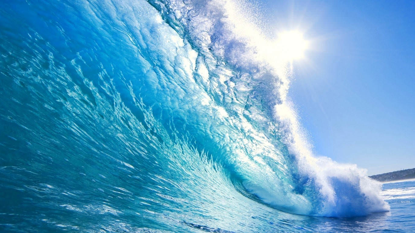 Blue Crystal Waves Wallpaper