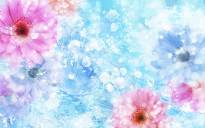 Blue Flowers & Crystals Wallpaper