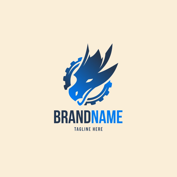 Blue Gear Dragon Logo