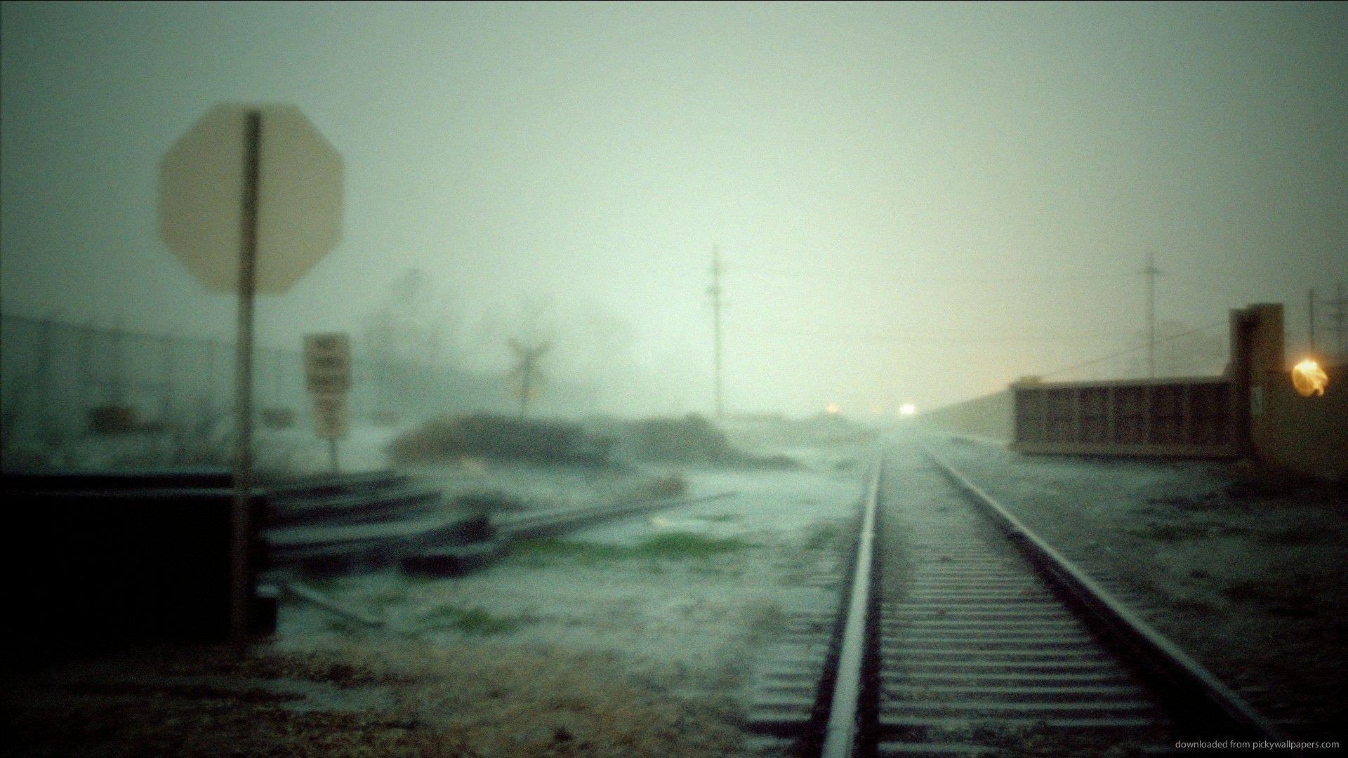 Blurred Rail Road Wallpaper