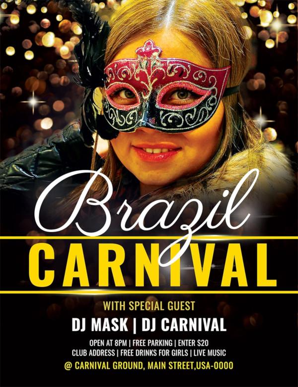 brazil carnival flyer template
