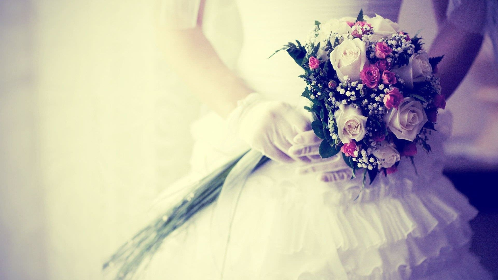 Bride with Flowers Wedding Background
