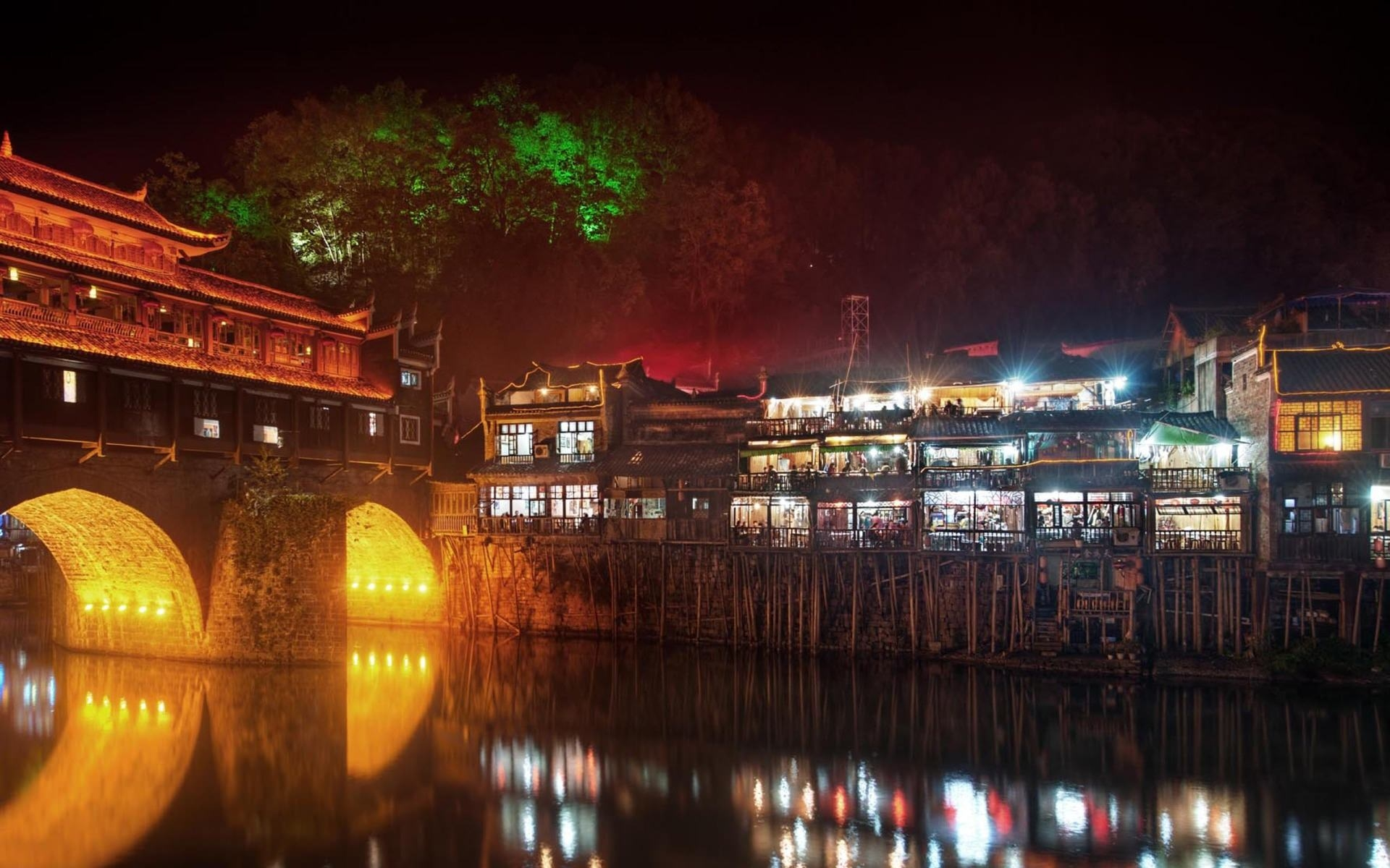 Bridge on a River in Feng Huang at Night