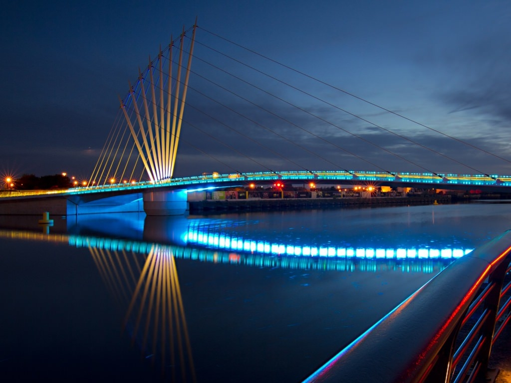 Bridge with Night Lights Wallpaper
