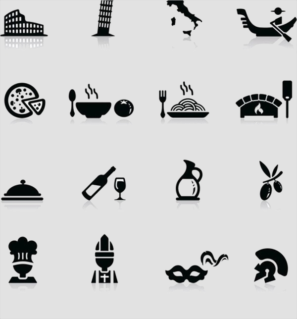 Building and food Art Icons