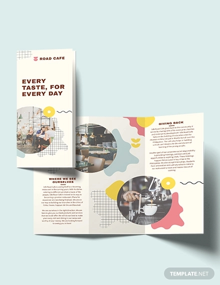 cafe tri fold brochure template