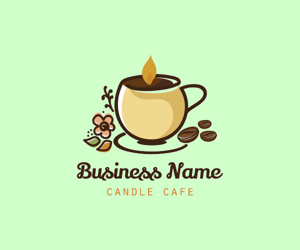 Candle Coffee Beans Logo