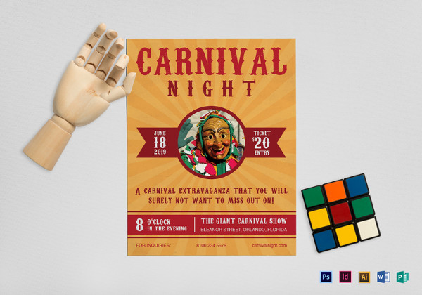 carnival night flyer template1