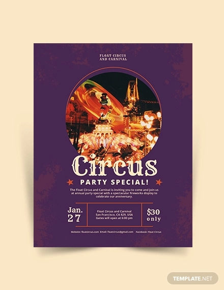 circus party flyer