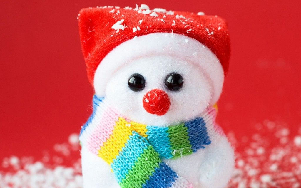 Colorful Cute Snowman Wallpaper