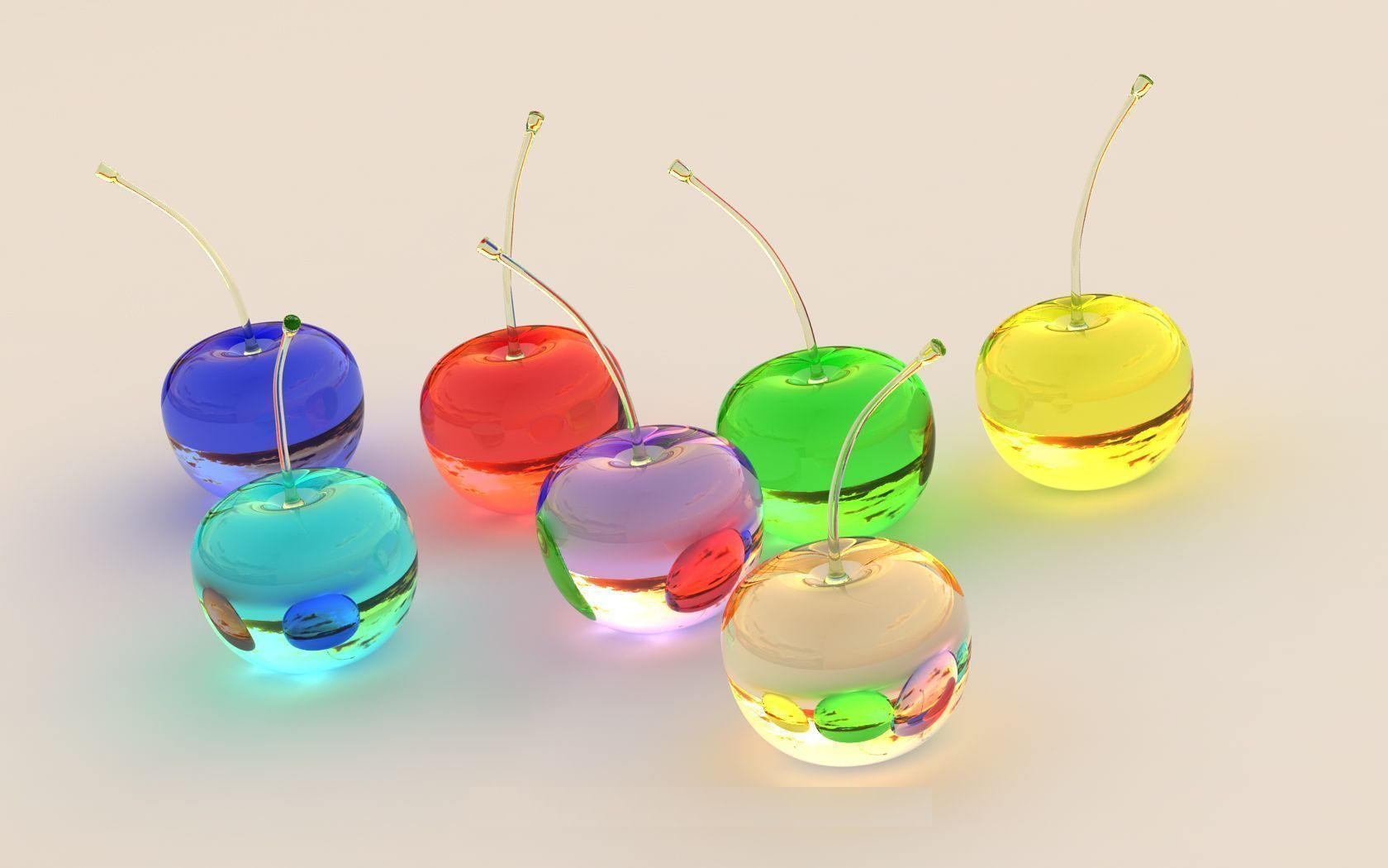 Colorful Transparent Bowls Wallpaper