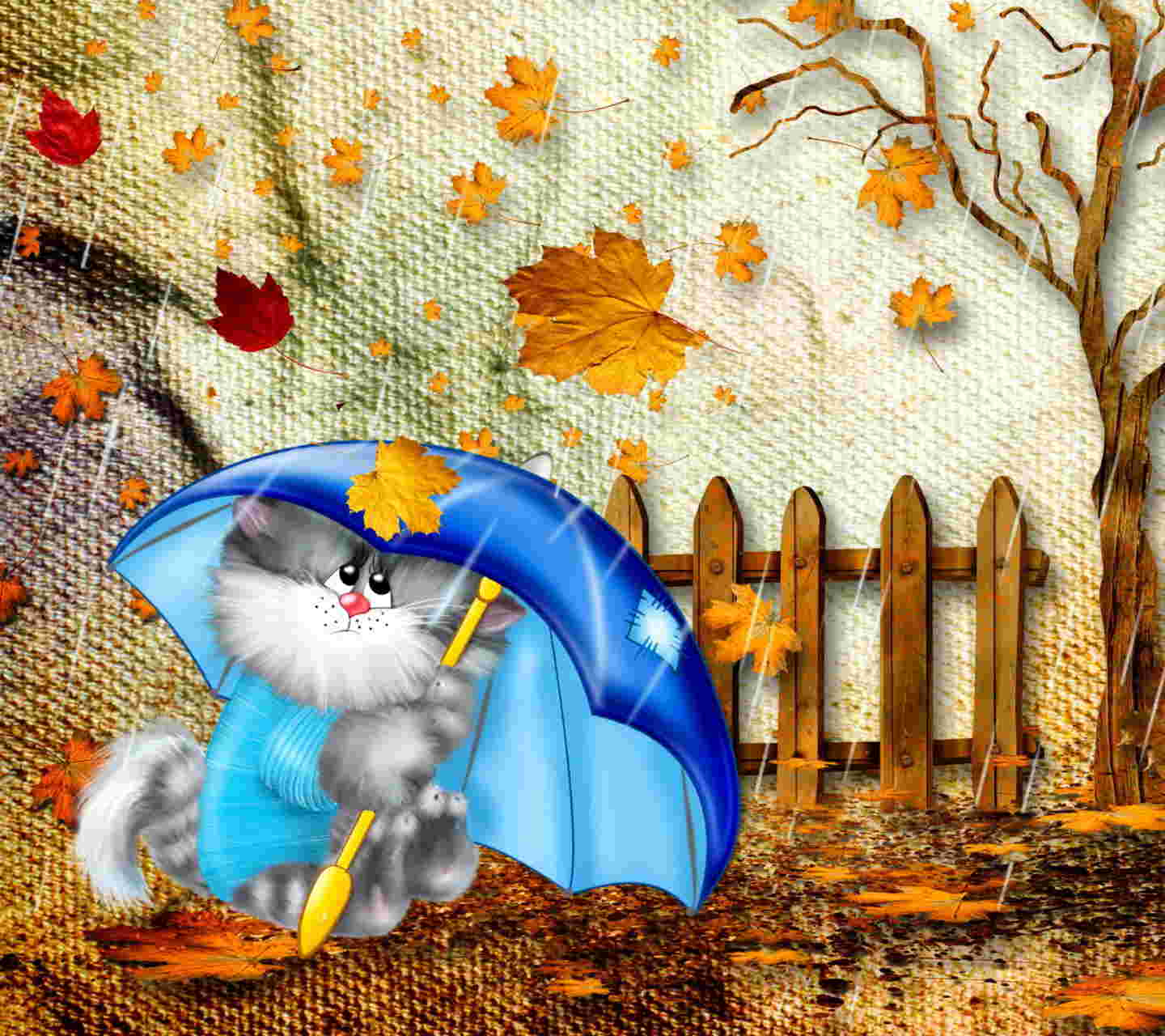 Cool  Autumn Cat Background
