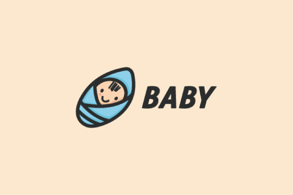 Cute Baby Carrier Cartoon Logo Design