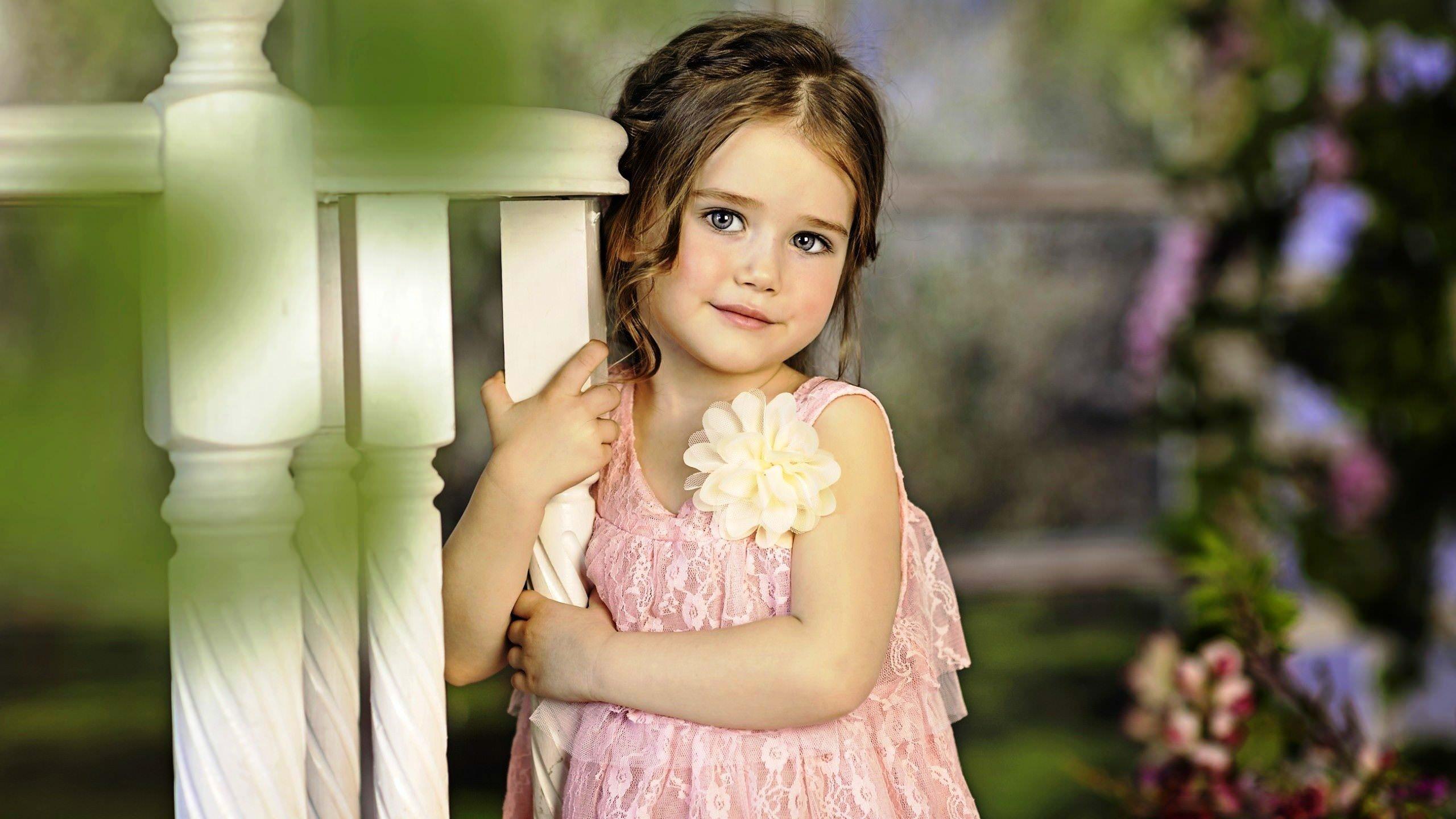 Cute Little Girl in Flower Dress Wallpaper