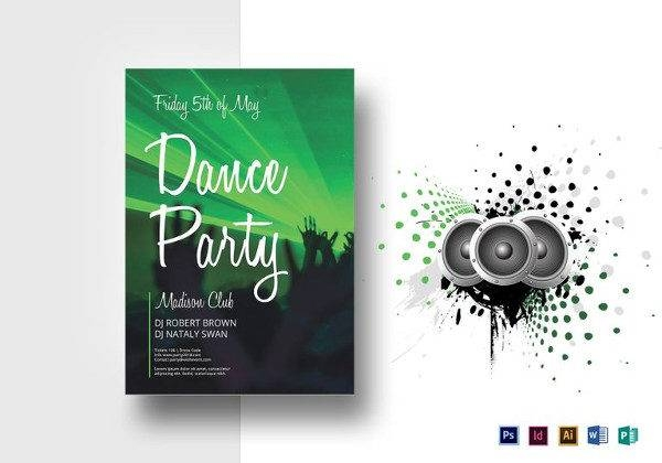 dance party flyer template 600x420
