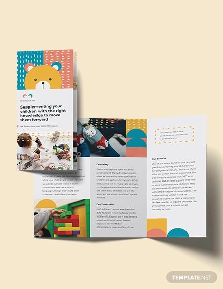 daycare center tri fold brochure template