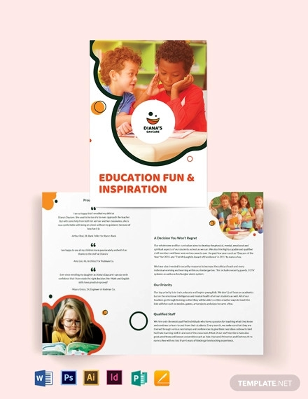 dianas daycare bi fold brochure template