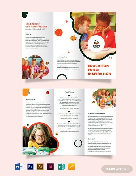 dianas daycare tri fold brochure template
