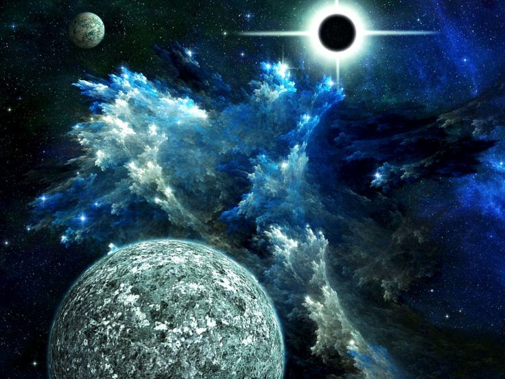 Digital Moons Nebula Planet Wallpaper