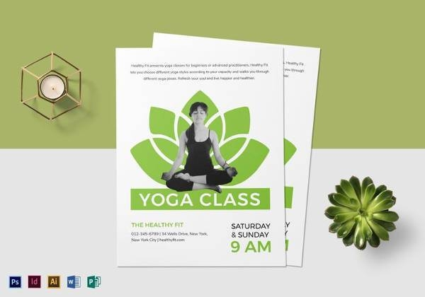 easy to edit yoga class flyer template 600x420