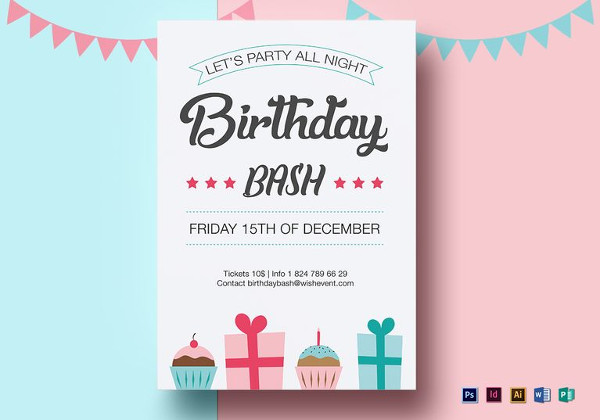 Editable Birthday Bash Flyer Template