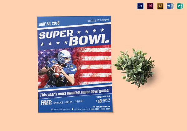 Editable Bowl Game Flyer Template