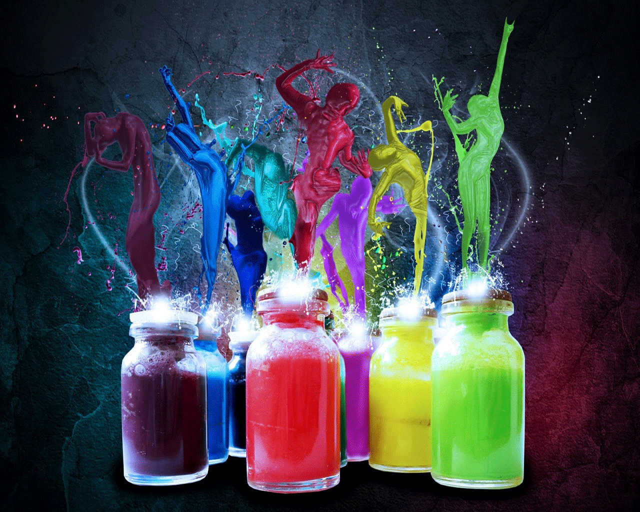 Elegant Colorful Bottles Wallpaper