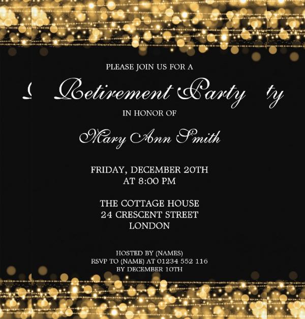 Elegant Retirement Party Gold Sparkles Card