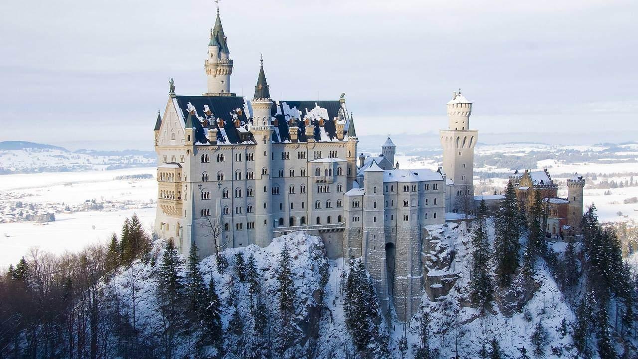 Elegant Winter Castle Wallpaper