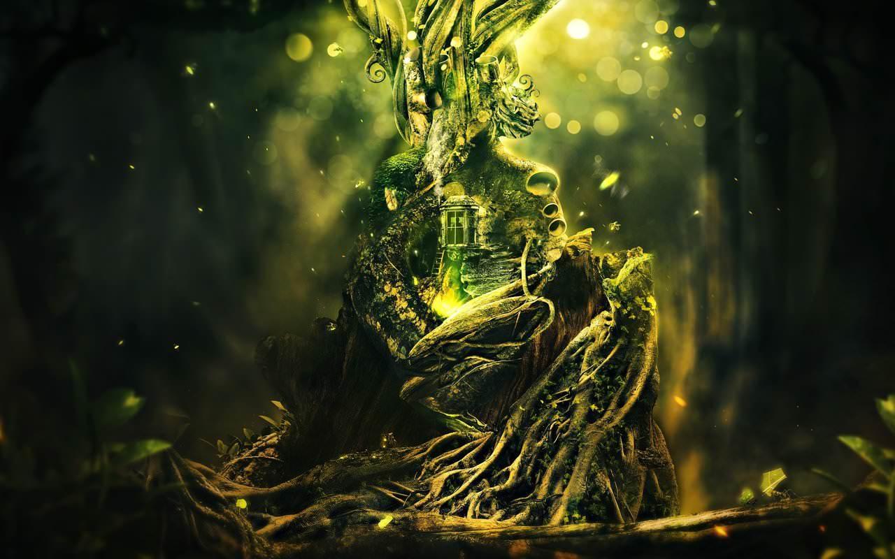 Elf in the Tree Digital Wallpaper