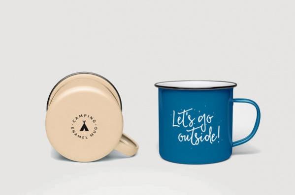 Enamel Coffee Mug Mockup PSD