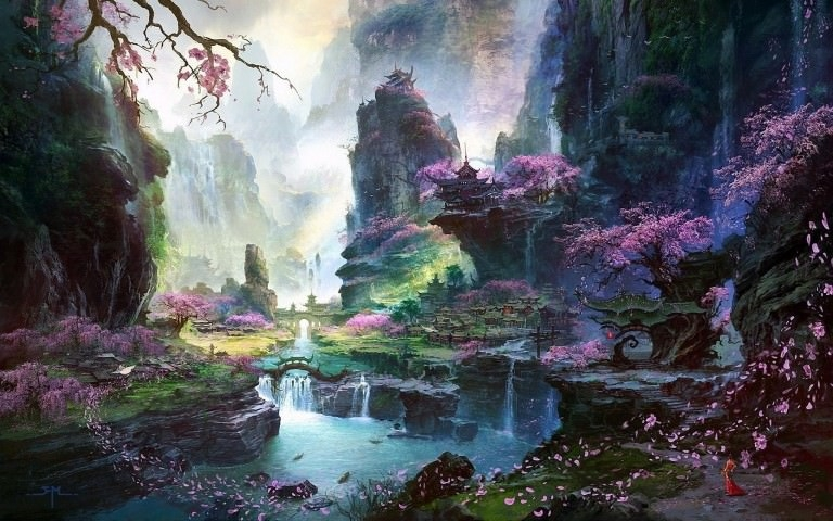 Fantastic Dreamy World Painting Wallpaper