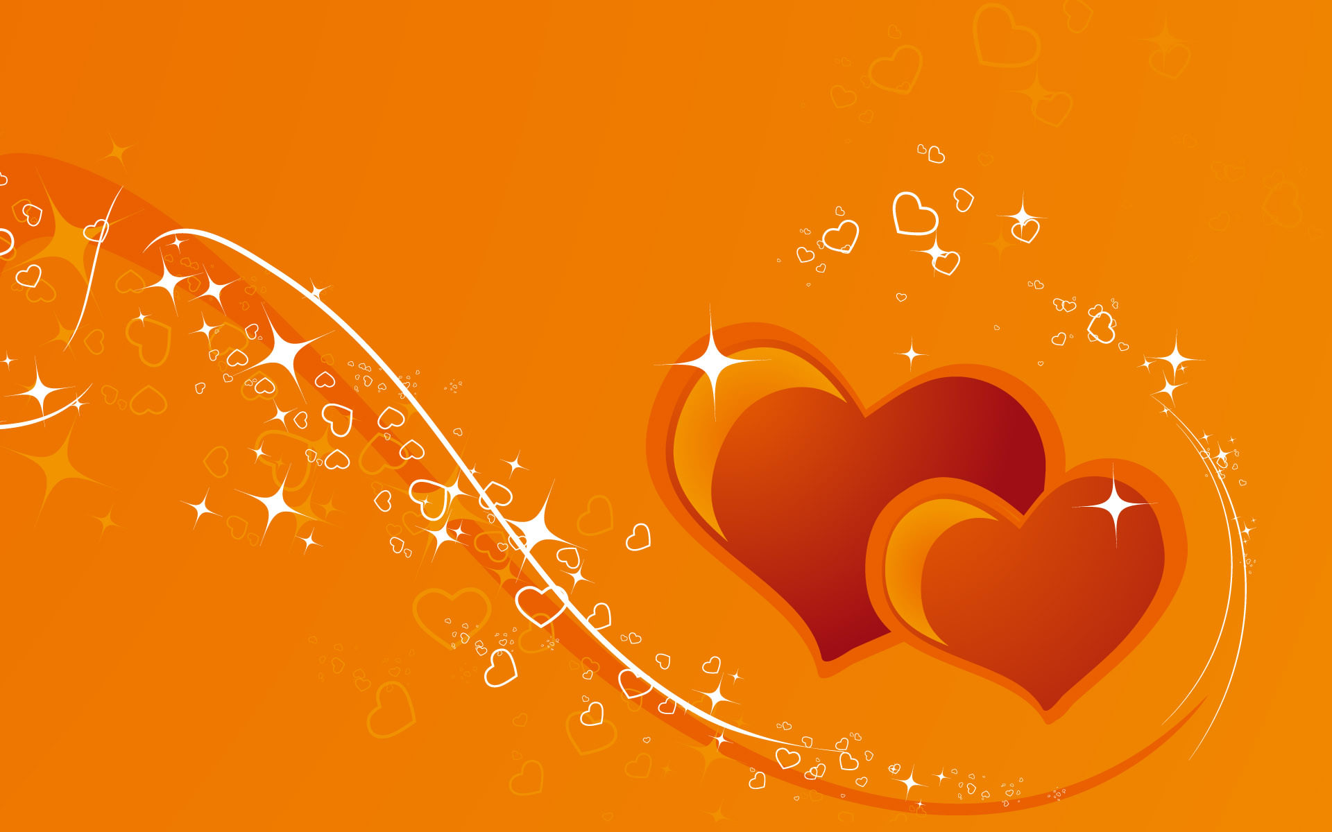 Fantastic Orange Heart Background