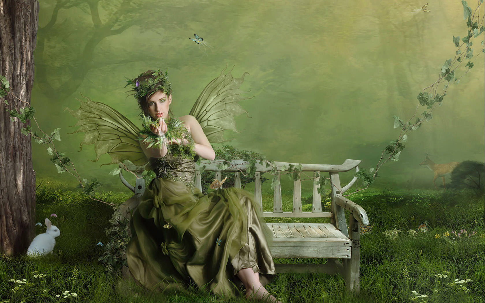 Fantasy Fairy in Green Wallpaper