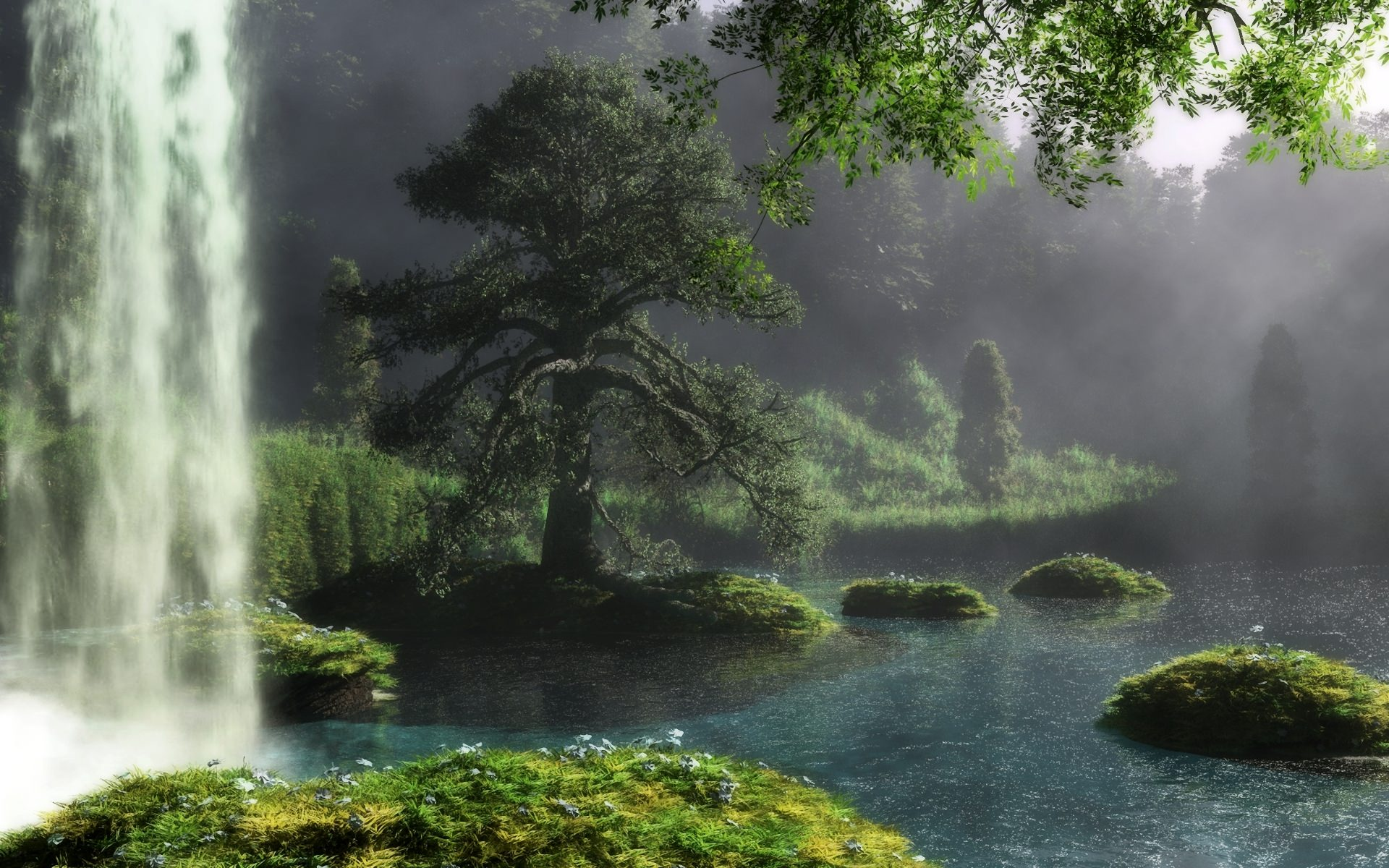 fantasy landscape waterfall river art