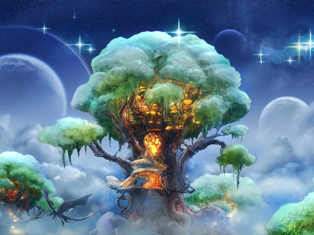 Fantasy Tree Art Magical Background