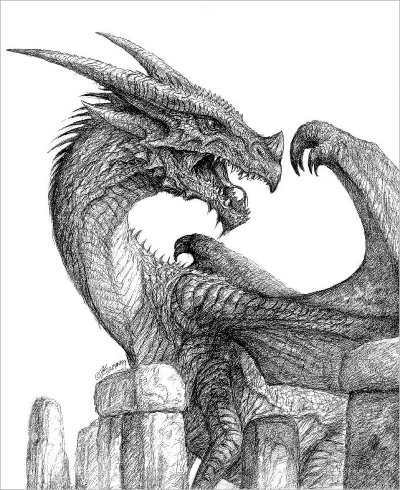 Fearsome Dragon Drawing