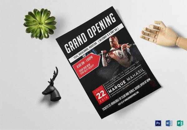 fitness gym grand opening flyer template 600x420