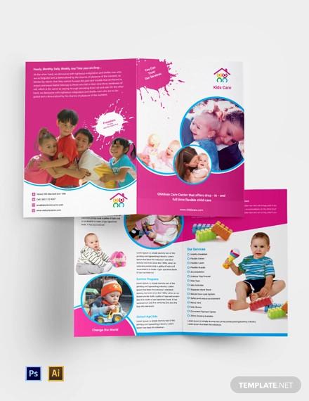 free day care bi fold brochure template
