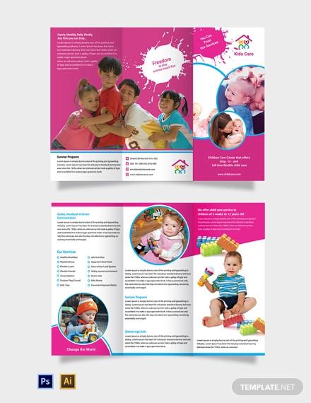 free day care tri fold brochure template
