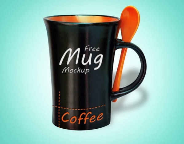 Free PSD Black Coffee Mug Mockup