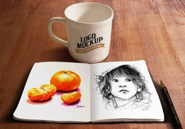 Free PSD Sketch Book and Coffee Cup Mockup on Wooden Table
