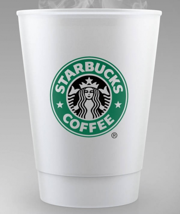 Free PSD Starbucks Coffee Cup Mockup with Steam Rising