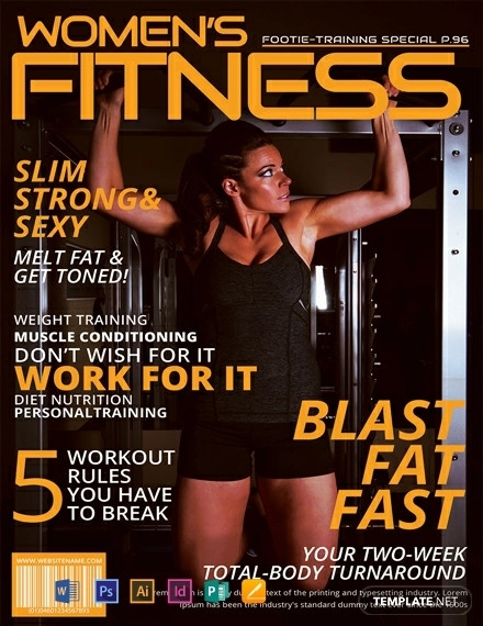 free womens fitness magazine cover template