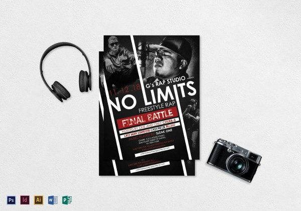 freestyle rap music flyer template 600x420