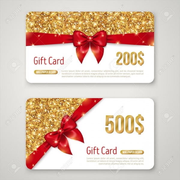 Gift Card Design with Gold Glitter