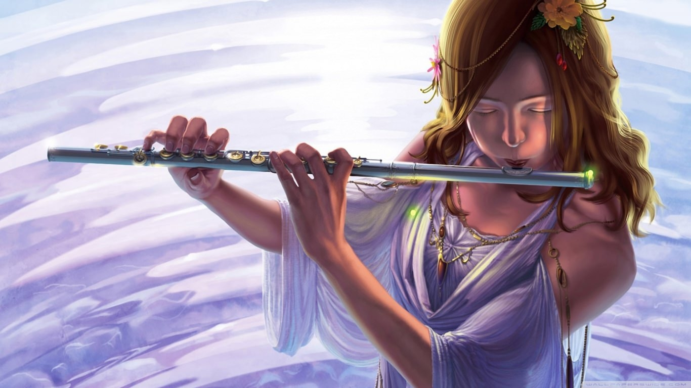 Girl Playing Flute Wallpaper