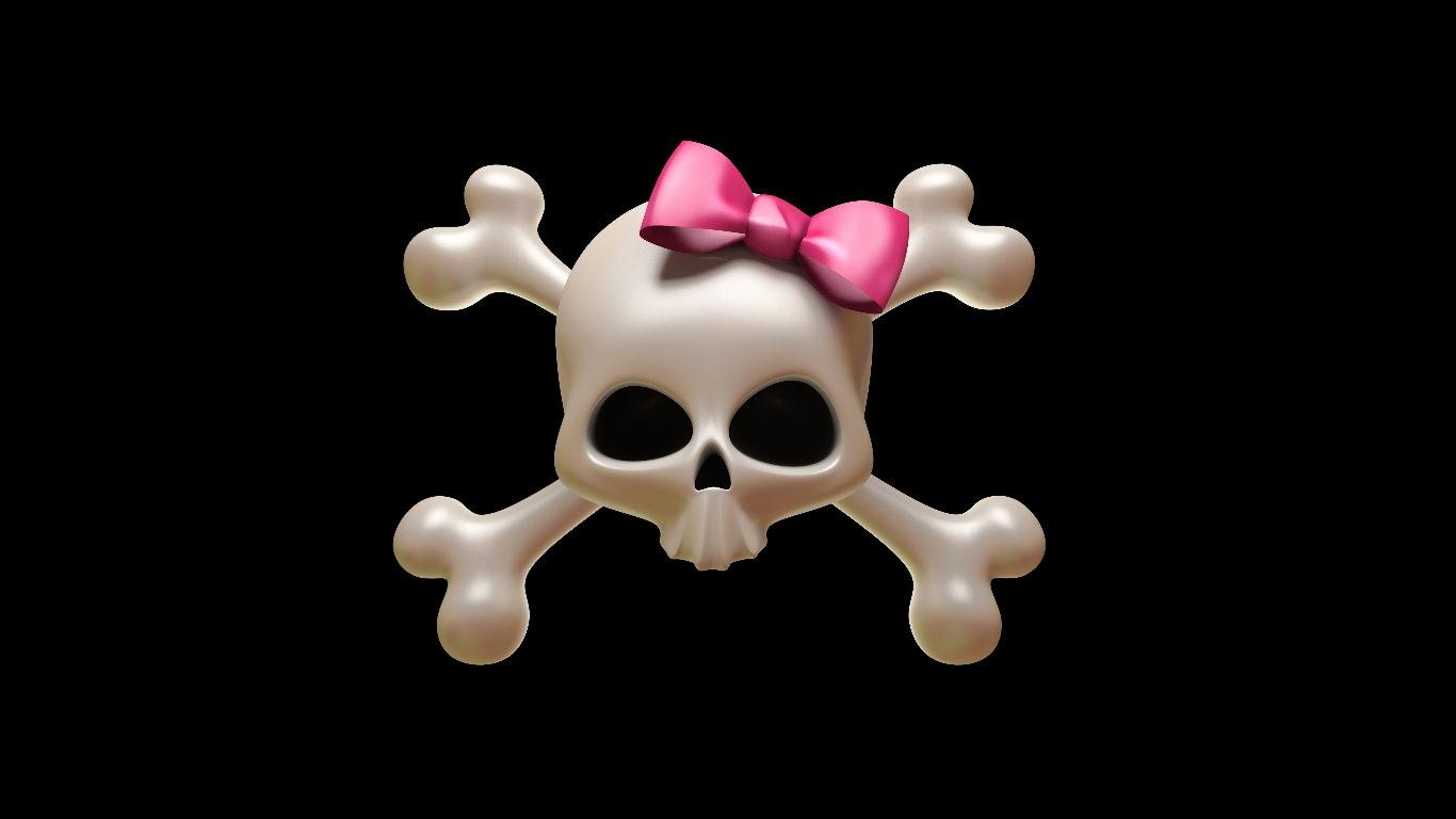 Girly Skull ribbon Wallpaper