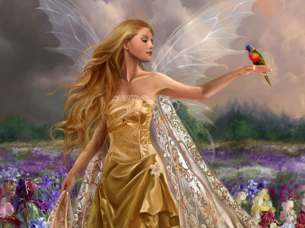 Gorgeous Fairy with Bird Wallpaper